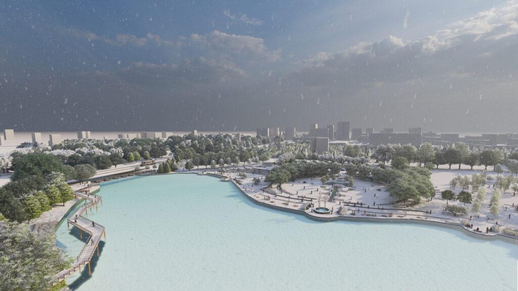 3D rendering of Waterloo Park in Winter