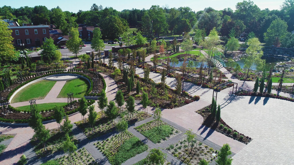 "Drone shot of Pillar & Post, ""The Gardens"" by SDG"
