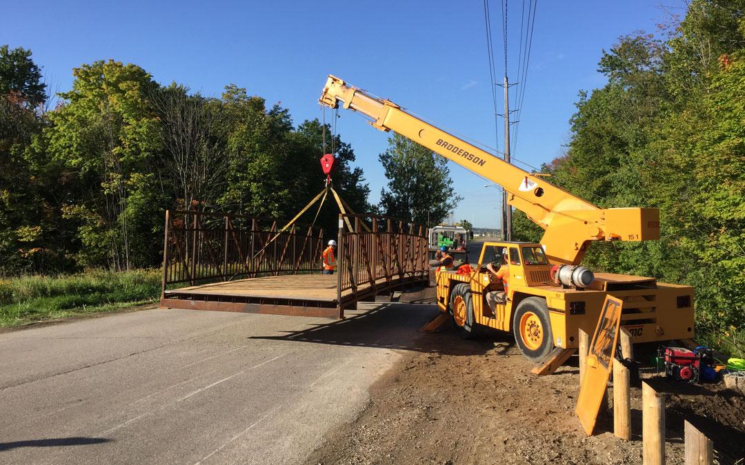 Wilmot Trails Bridge Gets Installed