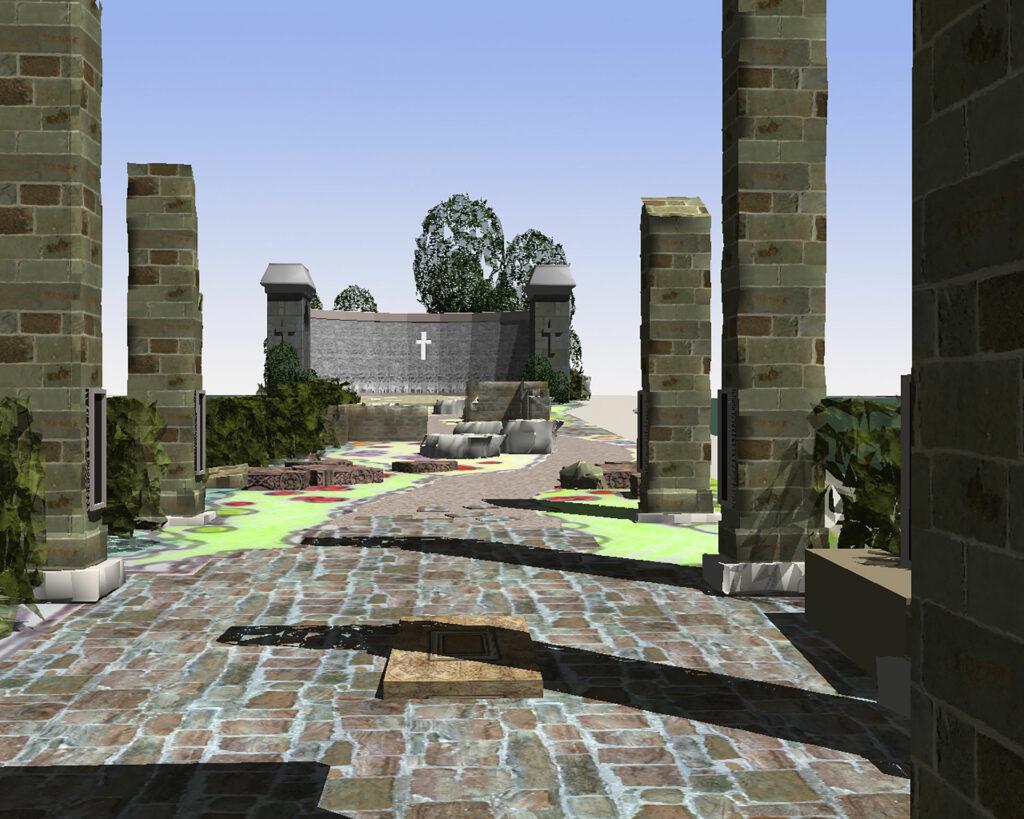 Armenian Genocide Memorial 3D Rendering of the Columns.