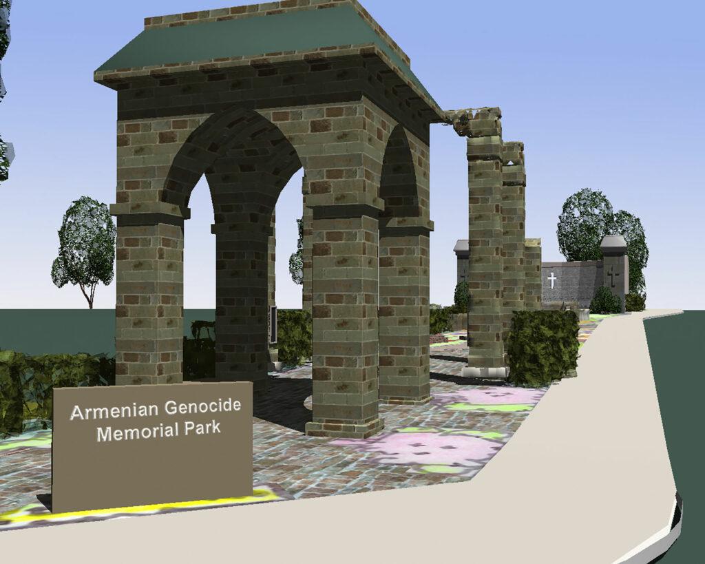 Armenian Genocide Memorial Street View 3D Rendering.