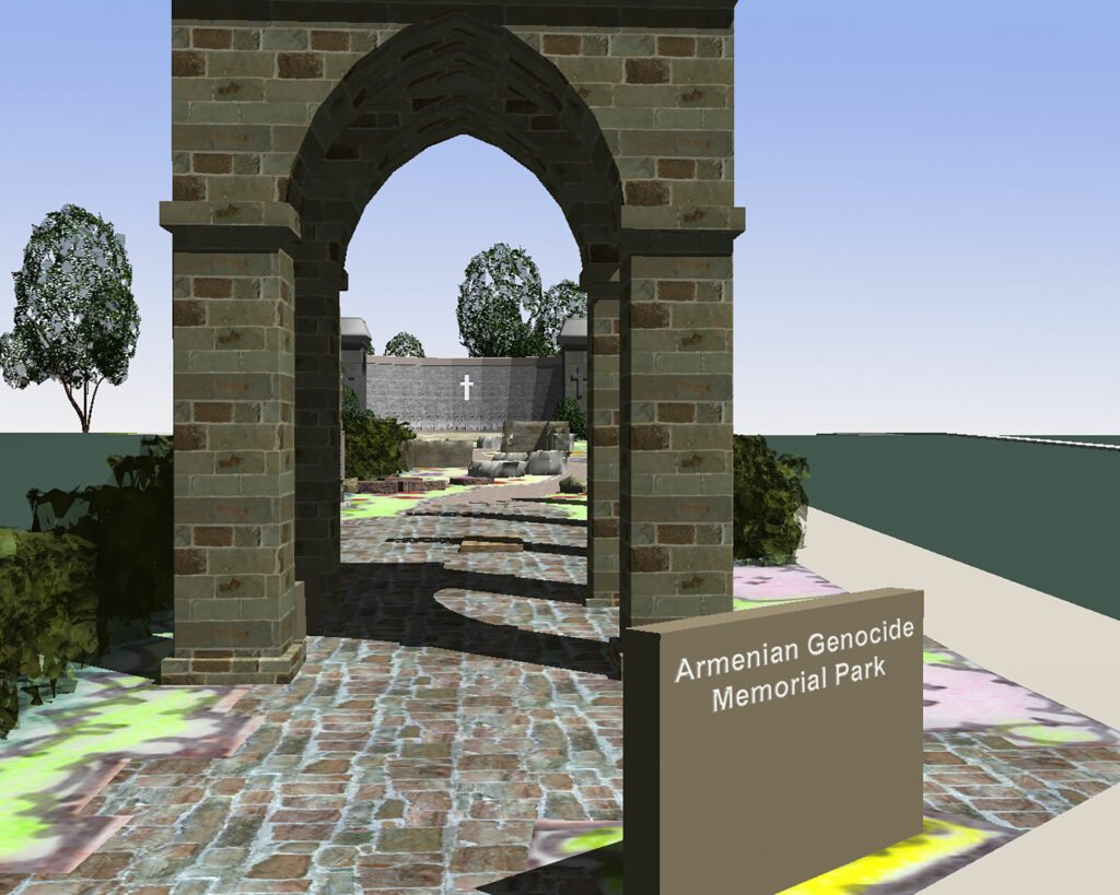 Armenian Genocide Memorial 3D Rendering. of the Entry Arch