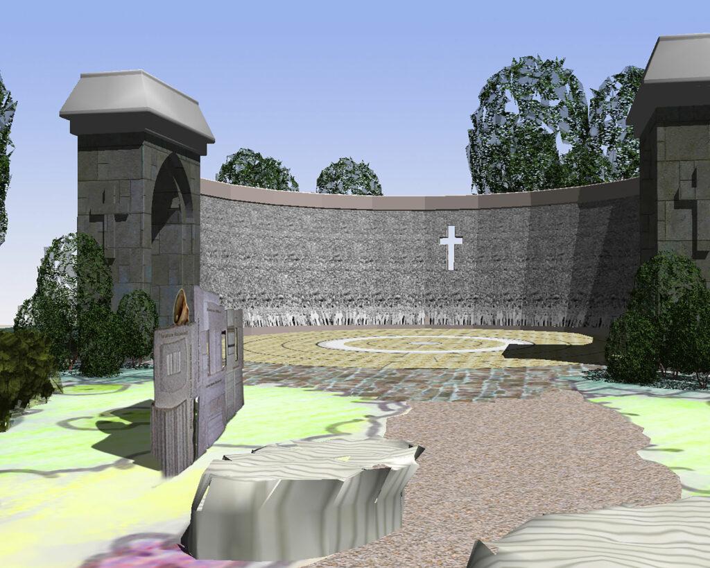 Armenian Genocide Memorial 3D Rendering of the Memorial wall.