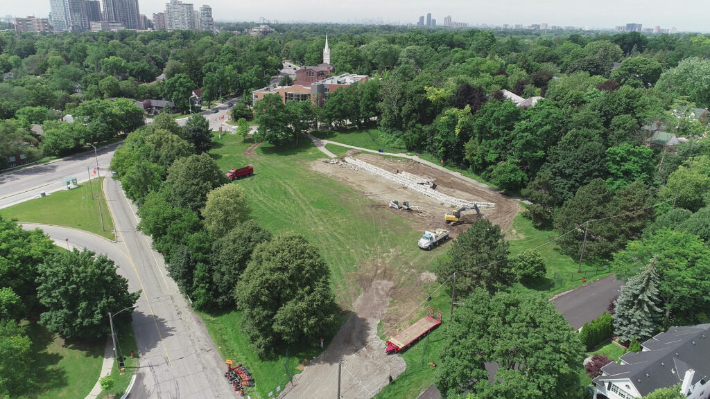 During construction drone shot of Humbertown Park by SDG