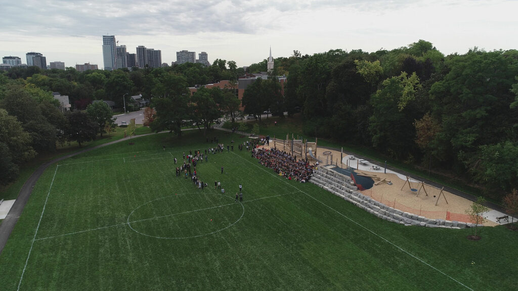 Drone shot of Humbertown Park on Opening Day by SDG