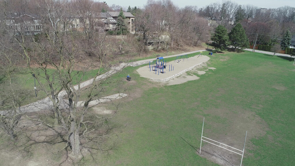 Pre-construction drone shot of Humbertown Park by SDG